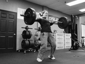 Hilary had no trouble hitting a New PR of 105# on Power Clean this morning.