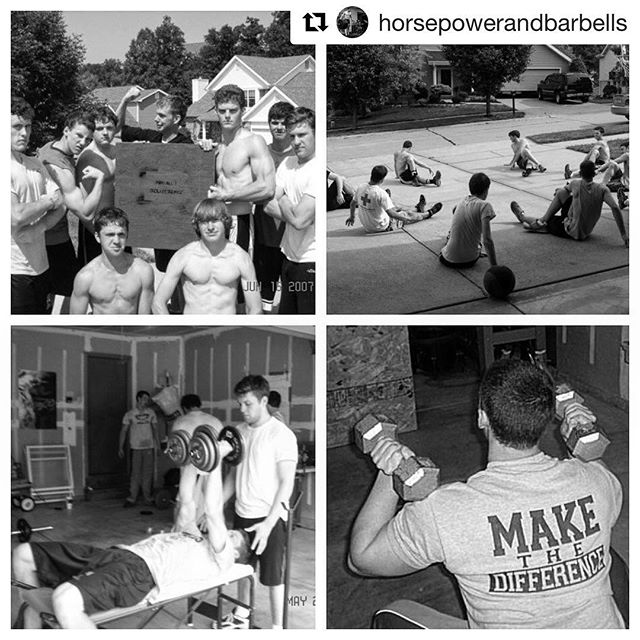 "@horsepowerandbarbells ・・・ Before the ""garage gym revolution"" and before the sport of fitness actually became a mainstream event, there was Project Deliverance in 2007. I recall posting some of these photos on Facebook back in the day and got all sorts of messages: ""Why are you working out in a garage?"" ""What are you guys doing? I wanna be a part of that."" Heavily inspired by Gym Jones, myself and a group of my friends got together, combined our resources, and trained together for 12 weeks out of my parents garage. Many of us were athletes and were training for upcoming seasons of competition. This was the only place we could listen to loud music, drop weights, and sweat and bleed everywhere. That sort of behavior was totally foreign about 10 years ago. // Moreover, we were pursing this idea that we didn't have to conform to this model of graduate high school, go to college, and be successful. Honestly, just settling down scared the hell out of all of us. So, we did what we knew and loved: trained hard all the time. For many of us, that's become how we put food on the table and pay the bills. But that same idea remains, if you don't absolutely love what you're doing, then quit, and go after what you really want to do. You can't really fail if you stay after it and keep trying. Project Deliverance started out as a bunch of punk kids training in a garage and chasing some dream. Now, it's a full blown training facility with over 100 members total and even more remote clients. So stay after it, don't settle for less. Stay inspired. Keep that fire burning every day. //"