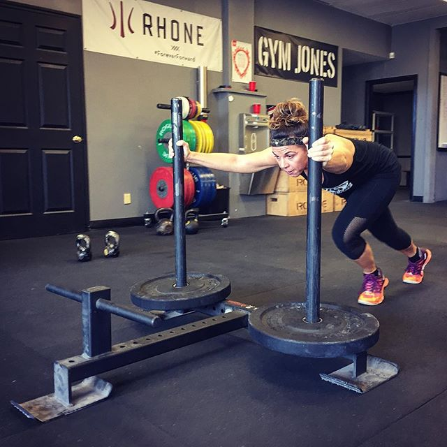 @fitgrandmakat was in the gym this morning getting strong and fit following her ACL Reconstruction. The prowler is a great tool to help provide some traction and functional rehab for the knees. // // ? @horsepowerandbarbells