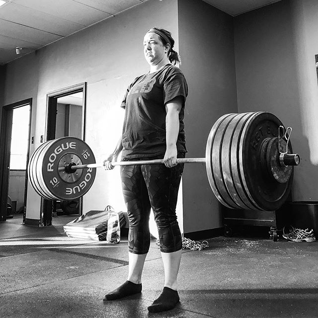 Most girls who come into the gym are able to deadlift 200 # fairly soon after the onset of training. We emphasize lifting efficiency, safety, and using proper leverage from day one. // @caitdhair made it look easy today for a New PR. // // ? @horsepowerandbarbells