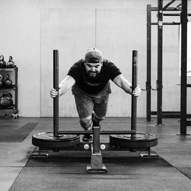 One of the only guys I know who enjoys pushing the prowler. // // ? @horsepowerandbarbells