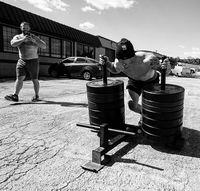 "@michaelsobol38 pushes the 775 # Sled. As a starting Safety for @niuhuskies, Mike put in lots of work developing his strength and leg power. That is evident today. // If you want to be powerful, you need to develop the requisite strength to support that power production. Be sure to prioritize your training to support and develop the ""big"" movements in the gym: 1. Back Squat/ Front Squat 2. Deadlift 3. Sled/ Prowler Work //"